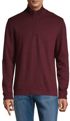 Black Brown 1826 Flat Back Ribbed Zip Sweater