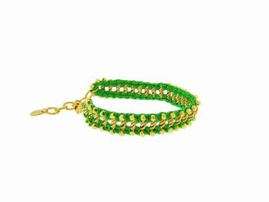 Chan Luu Neon Green Cord Bracelet with Gold Nuggets