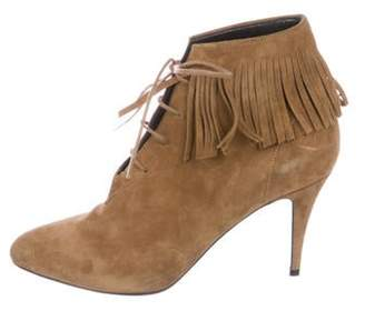 Saint Laurent Suede Fringe-Accented Boots Tan Suede Fringe-Accented Boots