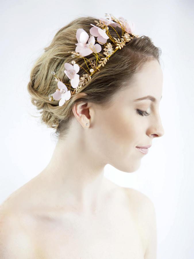 Etsy Bridal hair wreath - bridal flower crown - flower wreath - flower headband - bridal crown - pink wed