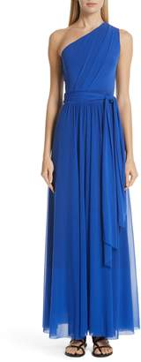 Fuzzi Tulle One-Shoulder Evening Dress