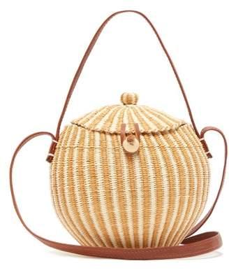 Sensi Studio - Leather And Toquilla Straw Basket Bag - Womens - Brown Multi