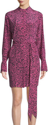 Diane von Furstenberg Tie-Neck Long-Sleeve Shirtdress
