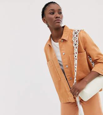 Weekday denim jacket in tangerine co ord