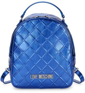 Love Moschino Embossed Metallic Faux Leather Backpack