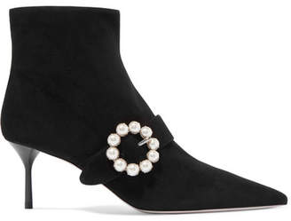Miu Miu Faux Pearl-embellished Suede Ankle Boots - Black