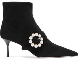 Miu Miu Embellished Suede Ankle Boots - Black