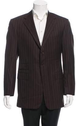 Ralph Lauren Purple Label Striped Wool Three-Button Blazer