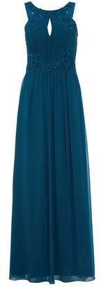 Quiz Teal Green Embroidered High Neck Maxi Dress