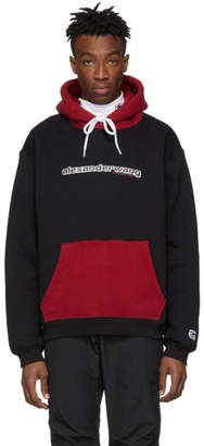 Alexander Wang Black and Red Compact Fleece Two-Toned Logo Hoodie