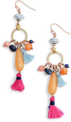 Nakamol Design Stone & Tassel Drop Earrings