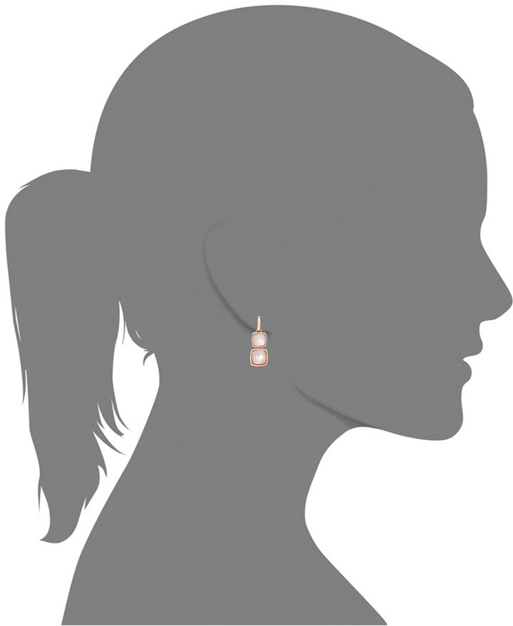 Bronzarte 18k Rose Gold over Bronze Earrings, Rose Quartz and Pink Mother of Pearl Doublet Drop Earrings (15-3/8 ct. t.w.)