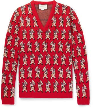 Gucci Dancing Pig-Intarsia Wool Sweater - Men - Red