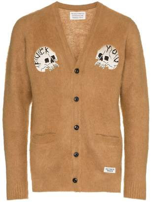 Wacko Maria skull patch wool cardigan