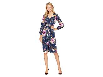 Maggy London Flemish Floral Charmeuse Draped Sheath Dress