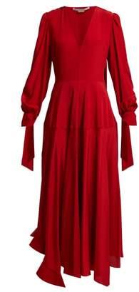 Stella McCartney V Neck Silk Crepe De Chine Midi Dress - Womens - Red