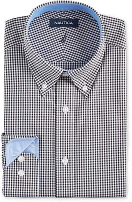 Nautica Men Classic/Regular-Fit Comfort Stretch Wrinkle-Free Black Gingham Dress Shirt