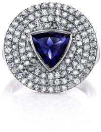 Sheryl Lowe Iolite Trillion & Diamond Ring, Size 7
