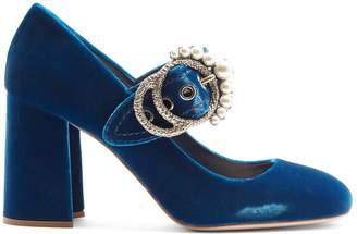 Miu Miu Embellished velvet block-heel pumps