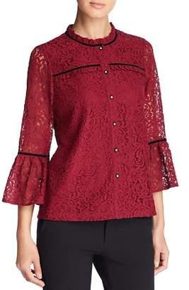 Karl Lagerfeld Paris Lace Bell-Sleeve Top