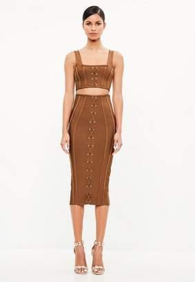 Missguided Brown Criss Cross Bandage Midi Skirt