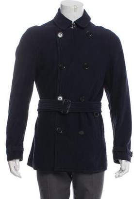 Burberry Beat Check-Lined Double-Breasted Coat blue Beat Check-Lined Double-Breasted Coat