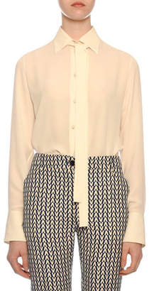 Valentino Tie-Neck Long-Sleeve Button-Front Silk Georgette Blouse
