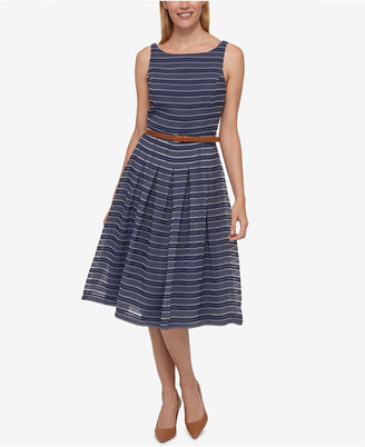 Tommy Hilfiger Belted Shadow-Stripe Dress, Created for Macy's $129.50 thestylecure.com