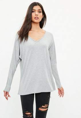 Missguided Gray Deep Plunge Tunic