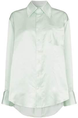 Matthew Adams Dolan asymmetric hem silk oxford shirt