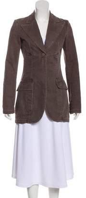 Chanel Denim Peak-Lapel Coat