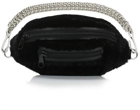 Alexander Wang SHEARLING PRIMARY FANNY PACK WITH BOXCHAIN STRAP Shoulder Bag