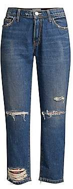 Current/Elliott Women's The Repaired Fling Distressed Crop Jeans