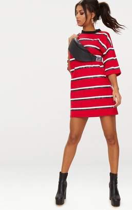 b12e80e305 PrettyLittleThing Camel Striped Oversized Boyfriend T Shirt Dress