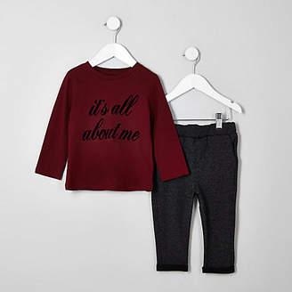 River Island Mini boys burgundy T-shirt outfit