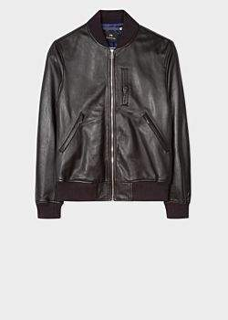 Paul Smith Men's Black Leather Bomber Jacket With Chest Pocket