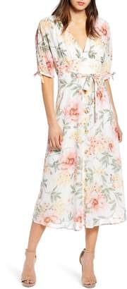 June & Hudson Floral V-Neck Tie Front Dress