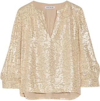 Elizabeth and James - Shelley Metallic Fil Coupe Silk-blend Blouse - Beige $325 thestylecure.com