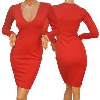 Generic Sexy Women Bandage Bodycon Long Sleeve Evening Party Red Lady Slim Fit Pencil Dress Deep V Collar Dress