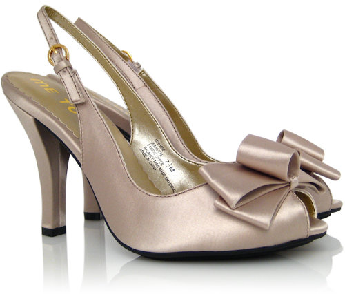 Me Too Satin Bow Pump - Champagne