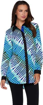 Bob Mackie Bob Mackie's Printed Button Front Collared Blouse