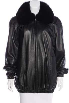Fox-Trimmed Leather Coat