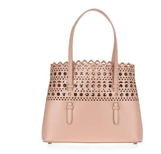 Alaia Beige leather laser-cut small tote