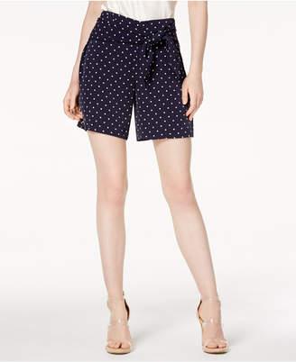 Bar III Polka-Dot Tie-Waist Shorts