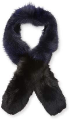 "Surell Women's Fox Fur Colorblock Scarf, 60"" x 5"""