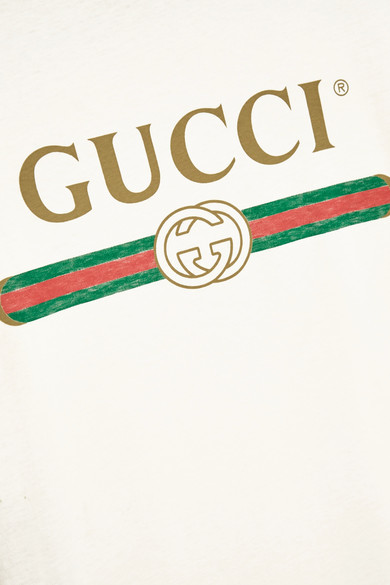 Gucci - Appliquéd Distressed Printed Cotton-jersey T-shirt - Cream 2