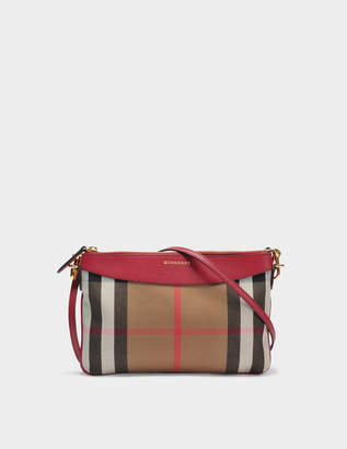 Burberry Peyton Pouch Bag in Russet Red Grained Calfskin