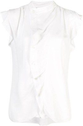 Derek Lam 10 Crosby Short Sleeve Draped Blouse with Asymmetrical Placket