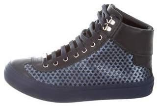 Jimmy Choo Leather Star Pattern Sneakers