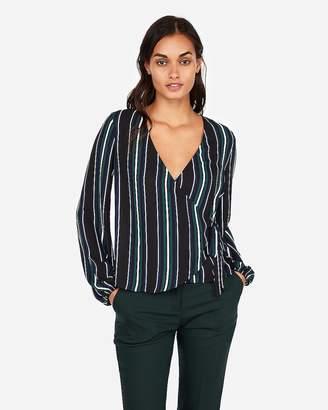 Express Stripe Kimono Sleeve Surplice Wrap Top